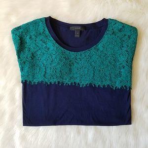 J. Crew Lace T-Shirt Blue and Green Medium EUC